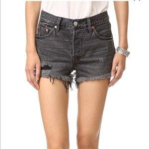 Levi's 501 black denim shorts